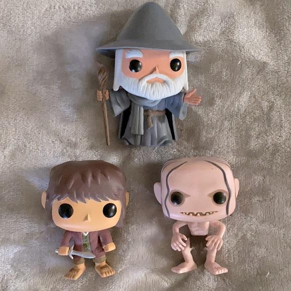 3 Hobbit Funko Pop Vinyls: Gollum, Gandalf, Bilbo